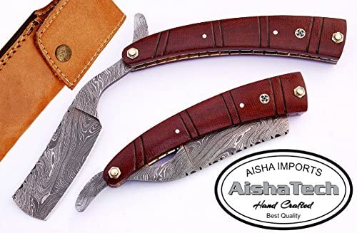 AishaTech Professional Straight Razor Damascus Steel Blade Sturdy G-10 Material Handle