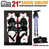 """New 2013 MTN Man Woman Kid Youth 21"""" YP RED Snowshoes with BLUE Nordic Walking Pole Free Bag snowshoe"""