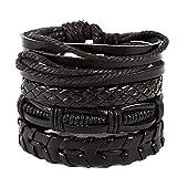 Women Retro Cross Weaving Lace-up Multi-Layer Hand-Woven Wristband Bangle Bracelets Gift for Girls Mens Teens Student Best Friend Forever(BK)