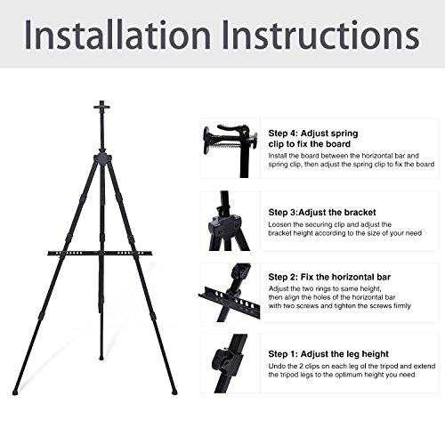 Display Easel Stand, Ohuhu 48-Pack 72'' Aluminum Metal Tripod Field Easel with Bag for Table-Top/Floor, Black Art Easels W/Adjustable Height from 25-72'' for Poster, Paint Back to School by Ohuhu (Image #7)