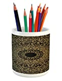 Lunarable Mandala Pencil Pen Holder, Spiritual Ritual Symbol Kaleidoscopic Universe Meditation Balance, Printed Ceramic Pencil Pen Holder for Desk Office Accessory, Fern Green Yellow Black