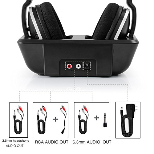 Wireless TV Headphones Over Ear Headsets - Digital Stereo Headsets with 2.4GHz RF Transmitter, Charging Dock, 100ft Wireless Range and Rechargeable 20 Hour Battery, Black by ARTISTE (Image #6)