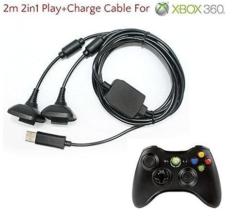 2 en 1 2m Largo USB Jugar Y CARGA CABLE DE CARGA CABLE PARA XBOX ...