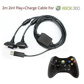 2 en 1 2m Largo USB Jugar Y CARGA CABLE DE CARGA CABLE PARA ...