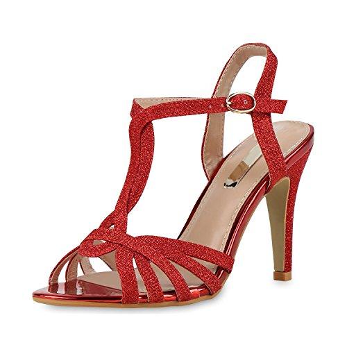 napoli-fashion - Sandalias de Punta Descubierta Mujer Rot Glitzer