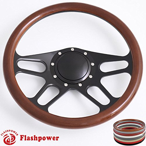 Flashpower 14'' Billet Half Wrap 9 Bolts Steering Wheel with 2'' Dish and Horn Button(Walnut Wood)