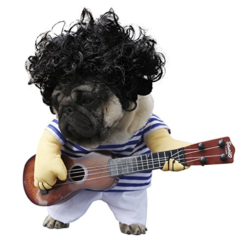 S-Lifeeling Pet Guitar Costume Dog Costumes Guitarist Player Ourfits for Halloween Christmas Cosplay Party Funny Cat Clothes (XL)