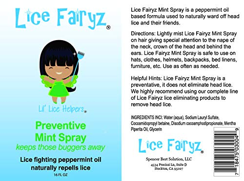 Lice Fairyz Preventive Mint Spray Naturally and Safely Repels Head Lice with 100% Natural Essential Oil. Effective Against Super Lice. Use Before or After Lice Treatment. Non-Toxic. No Pesticides. by Lice Fairyz (Image #2)