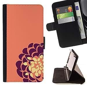 For Samsung Galaxy S5 V SM-G900 Case , Amarillo púrpura floral de la flor- la tarjeta de Crédito Slots PU Funda de cuero Monedero caso cubierta de piel