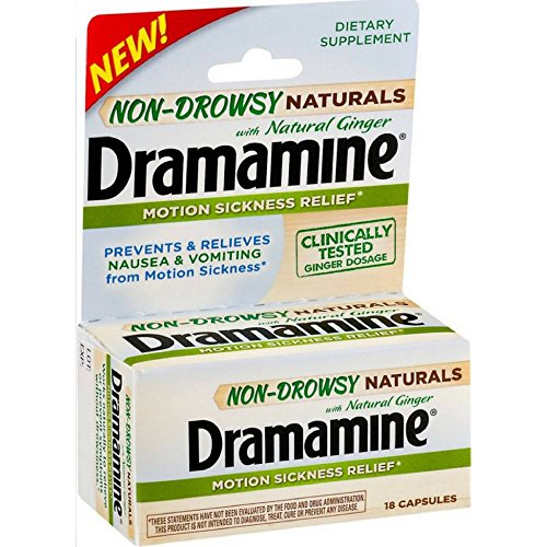 Dramamine Non-Drowsy Naturals with Natural Ginger, 18 Count (Pack of 2) ()
