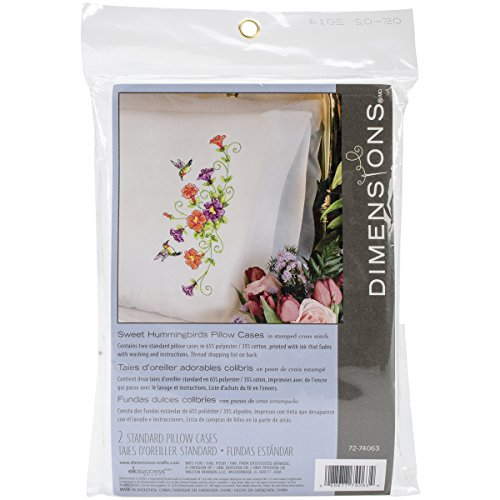 Dimensions Crafts 72-74063 Sweet Hummingbirds Pillow Cases Stamped Cross Stitch Kit