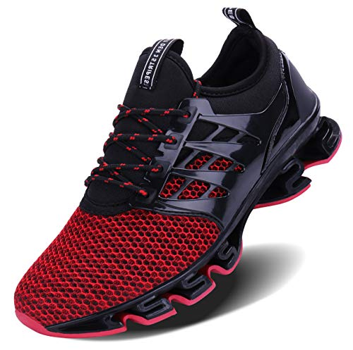 Mens Casual Walking Sneakers Slip On Blade Outdoor Sport Shoes (12 M US, 1-Red) ()