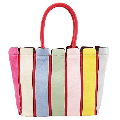 Ladies Handbag Straps Shoulder Leather Vertical Bag Red Faux Multicoloured Large OgS6O