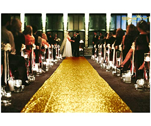 ShinyBeauty 4FTX15FT-Wedding Aisle Runner-Gold,Glitter Carpert Runner,Sequin Aisles Floor Runner,Wedding Ceremony Decor, Sparkly Sequin Fabric Footcloth (Gold) ()