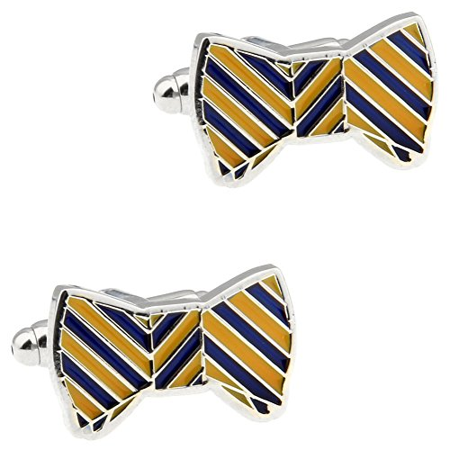 CIFIDET Blue and Yellow Enamel Bow Butterfly Knot Cuff Links Fashion Men Shirt Cufflinks with Gift Box ()