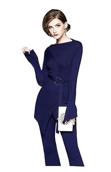 détaillant en ligne d05f3 03fc4 Sijux Femmes Lady Automne Hiver Pull Rayé Bleu Un Pull en ...