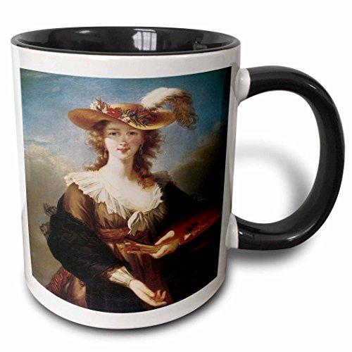 (3dRose BLN Portraits of Women Through Time Fine Art Collection - Self-Portrait by Marie Louise Elisabeth Vigee-Lebrun - 15oz Two-Tone Black Mug (mug_149580_9))