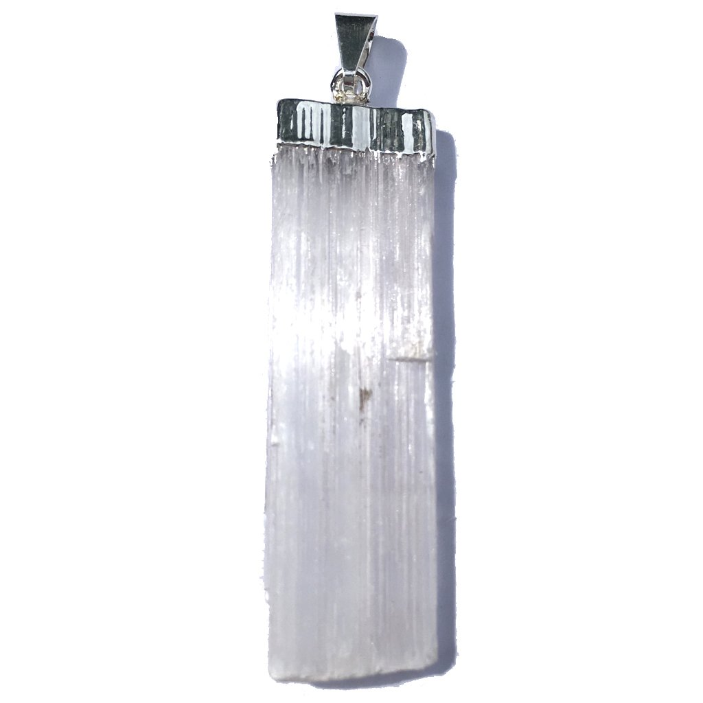 Mystery Mountain Rough Natural Plain White Selenite Silver Plated Crystal Pendant