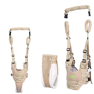 Baby Walking Harness Handheld Baby Walker, Adjustable Baby Walking Assistant Safety Harnesses, Soft Breathable Adjustable Harness Walking Belt for Toddler Infant Child Walker (Khaki) : Baby