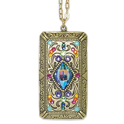 Anne Koplik Multi Color Swarovski Crystal Ornate Rectangle Brass Pendant Necklace Anne Koplik Jewelry