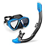 INTEY Snorkel Set with Tempered Glass Diving Mask, Dry Top Snorkel with Purge Valve and Anti-Fog Lens