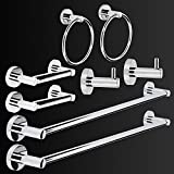 "LUCKUP 8 Piece Bathroom Accessory Set, Towel Bar Set, Include 2 x 24""Towel Bar, 2 x Robe Hook, 2 x 6.6""Towel Ring 2 x7""Toilet Paper Holder, 304 Stainless Steel Wall Mounted,Polished Chrome"