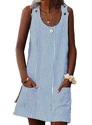 (Asvivid Womens Striped Sundress Summer Sleeveless Crewneck Casual Loose Shift Daily Boho Pockets Ladies Mini Short Dresses M Blue )