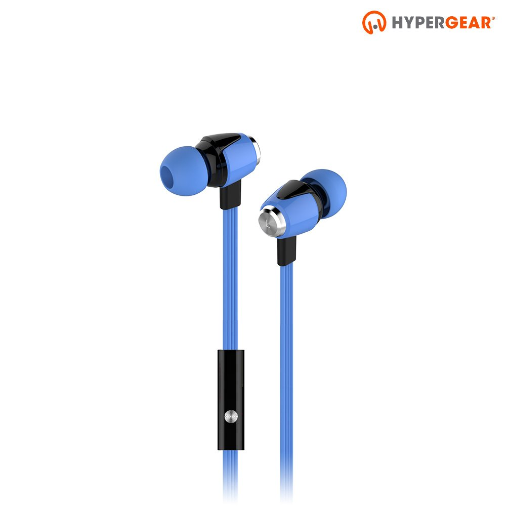 HyperGear dBm Wave Wired In-Ear Headphones with In-line Microphone for Calls. Noise Isolation Earphones with Precision Bass Sound Compatible for iPhones, Androids, iPad/Tablets & Other Devices (Blue)