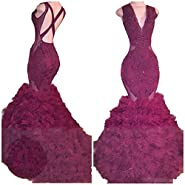 Sound of blossoming Sob V Neck Beaded Mermaid Prom Dress 2018 Long Sexy Backless Ruffles Evening Formal Pageant Gowns SOB222