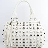 New Arrival Fashion Unique Round Rivet Studded Fringe Tote Satchel Boston Bag in White, Bags Central