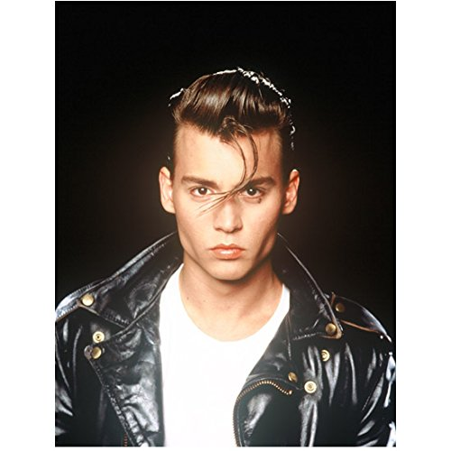 Johnny Depp 8x10 Photo Cry-Baby Black Leather Jacket Over White Tee kn