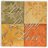 Live Laugh Love Inspirational Set of (4) Absorbent Beverage Stone Coasters by Greenbrier