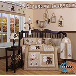 GEENNY Boutique 13 Piece Boy's Crib Bedding Set, Baby Teddy Bear