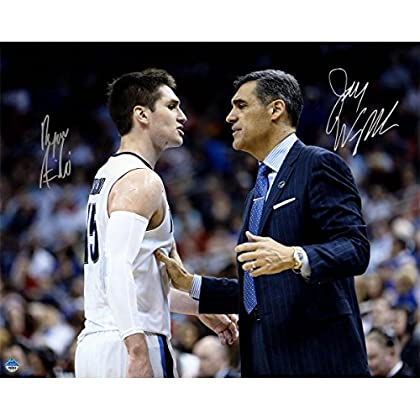 Image of Basketball Equipment Steiner Sports Jay Wright / Ryan Arcidiacono Signed On Court with Jay Wright 16x20 Photo