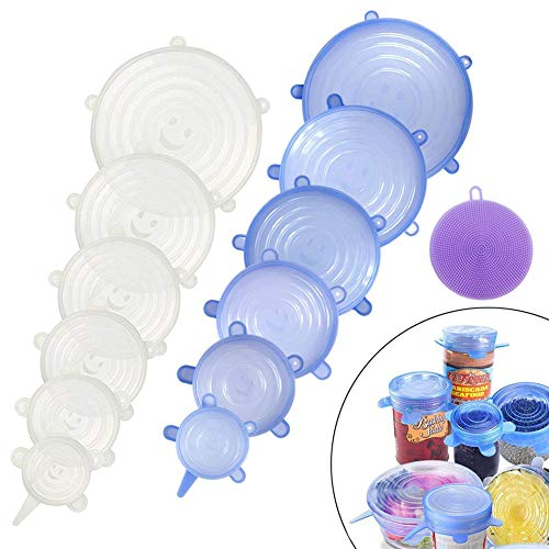 Food Grade Easy to Clean Reusable Silicone Stretch Lids (12, Transparent and Blue) by WDWYW (Image #2)'