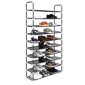 Homdox Closet 10 Tier Shoe Rack Tower Organizer Shoe Storage Cabinet At Least 40 Pairs Quality Price,Black