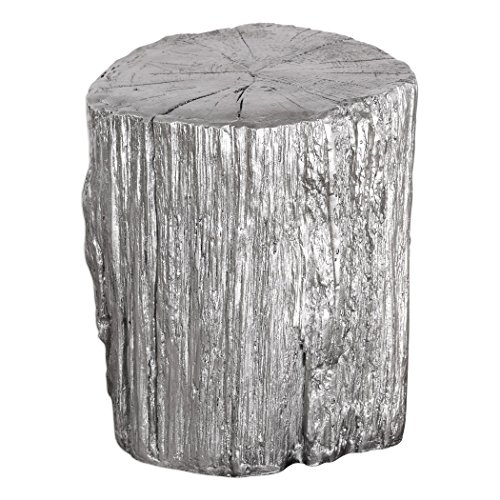MY SWANKY HOME Elegant Silver Tree Stump Accent Table | Pedestal Round Faux Bois Trunk - Table Silver Tree