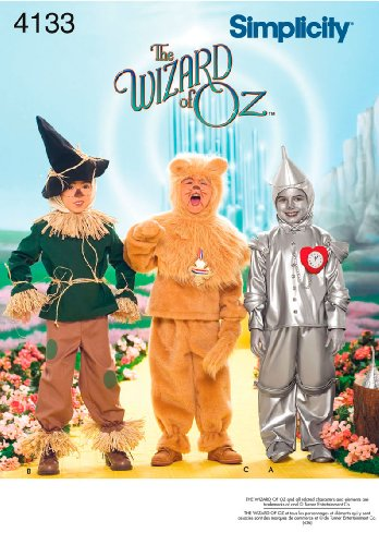The Wizard of Oz Scarecrow, Lion, Tin Man - Simplicity Sewing Pattern 4133 Child Costumes, A (3-4-5-6-7-8)
