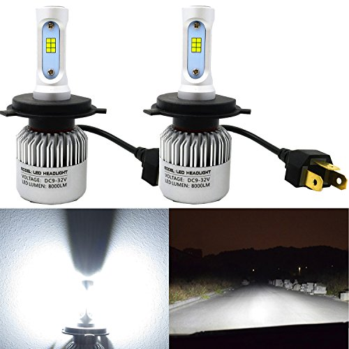 Alla Lighting 8000lm HB2 H4 LED Headlight Bulbs Xtreme Super Bright COB LED H4 Headlight Bulb Xenon White 9003 H4 LED Headlamp Conversion Kits -Dual Hi/Lo Beam Headlight (Set of 2)