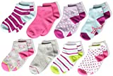 Stride Rite Little Girls' 8-Pack Quarter, Star Pop-Assorted Colors, Sock: 6-7.5 / Shoes: 7-10