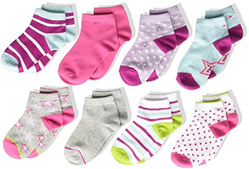 Stride Rite Little Girls' 8-Pack Quarter, Star Pop-Assorted Colors, Sock: 6-7.5 / Shoes: 7-10 by Stride Rite