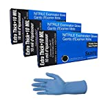 Skintx High Risk Heavy Duty Nitrile Gloves, Powder Free Sizes, 8 mil, Medium-2X-Large, (150, Small)