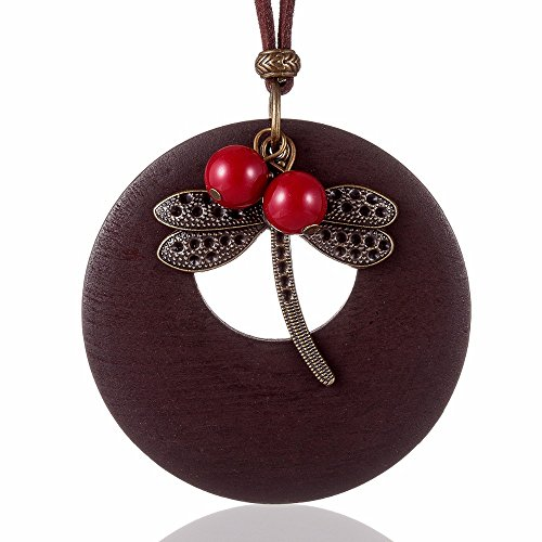 """Zen Style Women's Inspirational Vintage Beaded Dragonfly Wooden Pendant Double Strand Choker Necklace, 16.5"""" Inches With 2"""" Inch Extender and Lobster Clasp"""