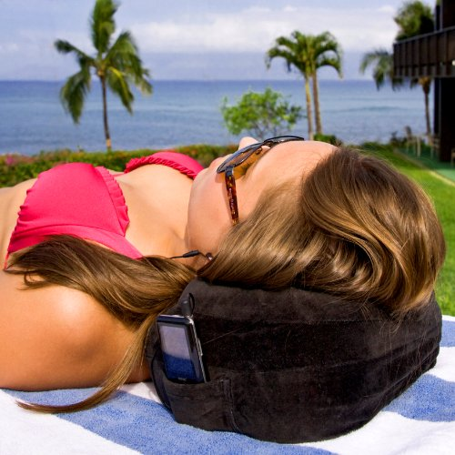 CABEAU Best Memory Foam Travel Pillow and Neck Pillow with Raised Support Sides, Flat Back, and Small Portable Bag - Black
