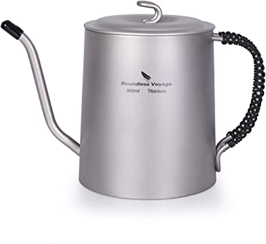 Camping Titanium Kettle Coffee Tea pot with Filter Handle Lid Fit Fire Induction