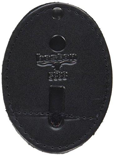 Boston Leather Oval Badge Holder with Swivel Plain Finish (Black ()