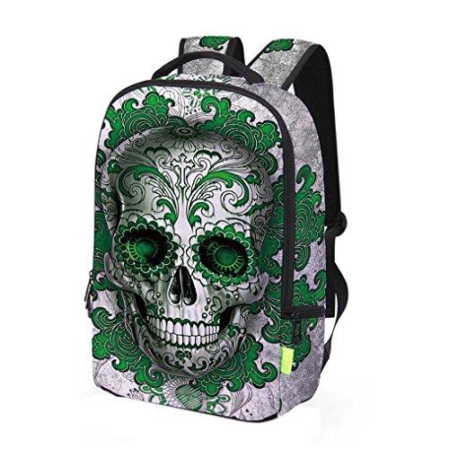 Muerte del cráneo 3D 2017 Morwind Galaxy viaje bolsa de deporte mochila bandolera (Verde) Verde