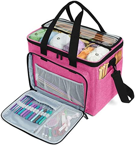 "Teamoy Knitting Bag, Yarn Tote Organizer with Inner Divider (Sewn to Bottom) for Crochet Hooks, Knitting Needles(Up to 14""), Project and Supplies -No Accessories Included, Pink"