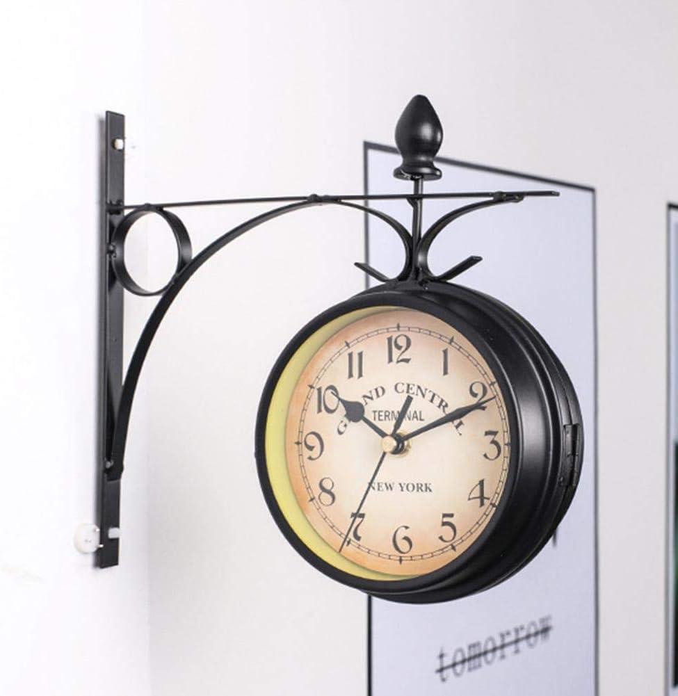 Assiduousic Wrought Iron Antique Outdoor Wrought Iron Wall Clock Garden Creative Fashion Wall Hanging Clock Double Faced Wall Clock Home Decor Wall Clock