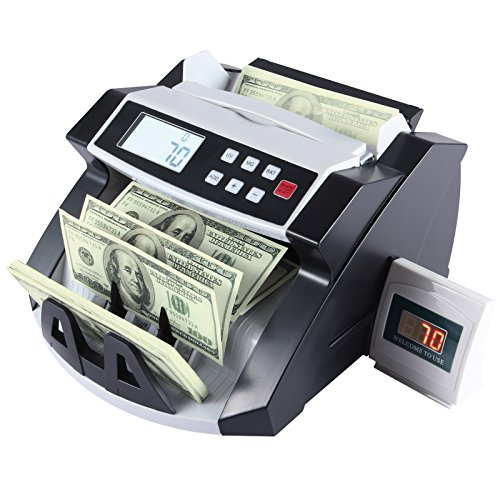 KUPPET Automatic Money Currency Cash Counting Machine Worldwide Cash Bill Counter-Bank Counterfeit Detector with with UV/MG Counterfeit Detection and LCD Display-Black (Machine Any)